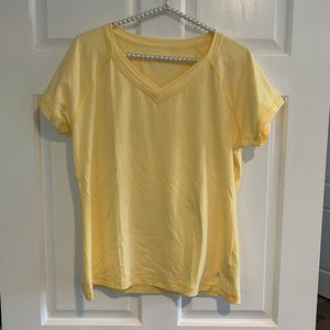 Danskin Yellow V-Neck Short Sleeve Tee